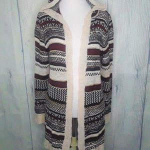 Hippie Rose Striped Hooded Cardigan Sweater, Small